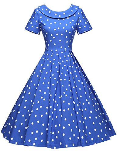 GownTown Women's 1950s Polka Dot Vintage Dresses Audrey Hepburn Style Party Dresses,Royal -