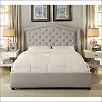 Hampton and Rhodes Mackenzie Upholstered Platform Bed in Beige in Queen