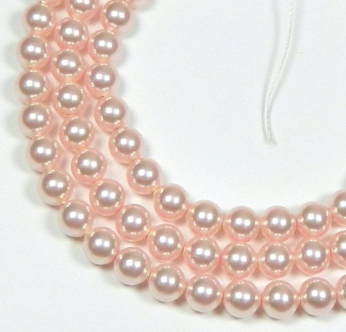 (100 Swarovski Crystal Pearls 4mm Round Beads (5810). 16 Inch Loose Strand (Rose))