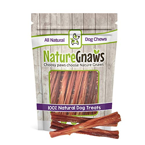 Nature Gnaws Beef Bladder Sticks 5-6 inch (15 Count) - 100% Natural Beef Dog Chew Treats (100% Natural Rawhide)