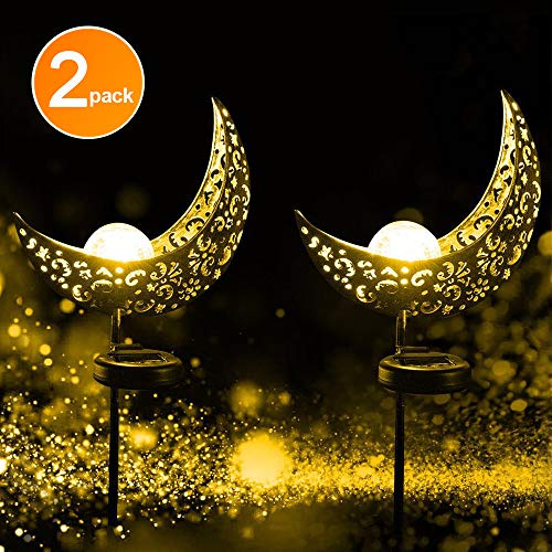 EOYIZW Solar Garden Lights, Crescent Garden Decor Hollowed Pattern Crystal Crackle Glass Globe Moon Stake Light, Anti-Corrosion Waterproof IP55, Fairy Decorative Charming White LED for Lawn, Patio