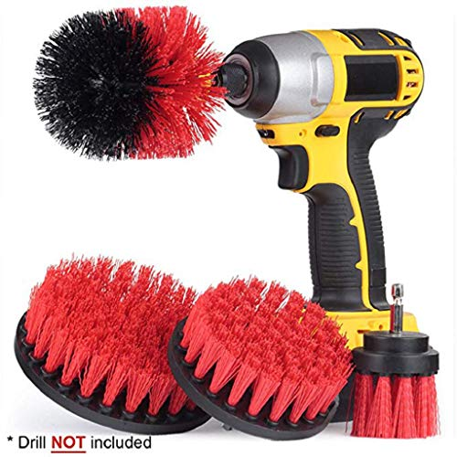Kadola-4Pcs Grout Power Scrubber Cleaning Brush Tub Cleaner Combo Tool Kit,Red ()