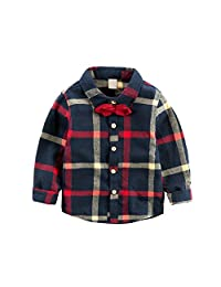 Little Boys' Long Sleeve Flannel Plaid Shirt with Bowtie
