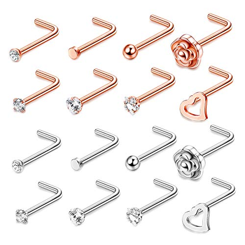 (FIBO STEEL 20G 16 Pcs Stainless Steel L Shape Nose Ring Stud CZ Nose Rings for Women Girls Body Piercing Jewelry)
