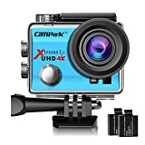 Campark ACT74 Action Camera 4K WiFi Waterproof Sports Camera 170 Degree Ultra Wide Angle Lens with 2 Pcs Rechargeable Batteries and Helmet Accessories Kits(Blue)