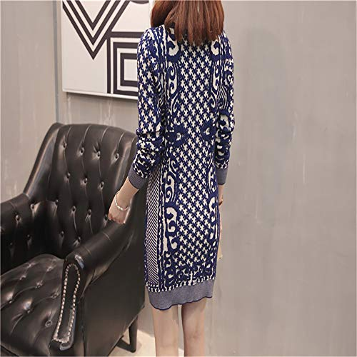 Jacquard Long Femmes Knitwear Shirloy Bleu Loose Pull Jacket Long Sexy Large Sleeve Glamour Z4qqdn