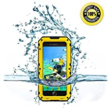 iPhone 6 Plus/6S Plus Heavy Duty Durable Case, Hankuke Waterproof Maximal Protective Metal Case with Tempered Ballistic Glass All Directional Protective Shell for Seaside Vacation Activity - Yellow