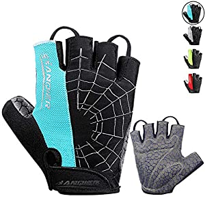LANYI Cycling Gloves Bike Gloves Mens Womens Shock-Absorbing Pad Anti-Slip Half Finger Weight Lifting Gloves Biking…