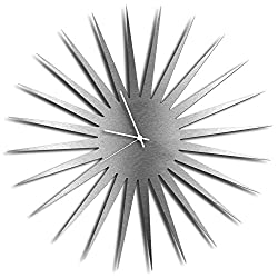 Mid Century Decor 'MCM Starburst Clock - Silver/White' Midcentury Modern Starburst Clocks, Vintage Style Wall Decor - 23in. Silver w/ White Hands