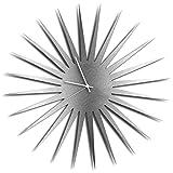 Mid Century Decor 'MCM Starburst Clock - Silver/White' Midcentury Modern Starburst Clocks, Vintage Style Wall Decor - 23in. Silver w/ White Hands