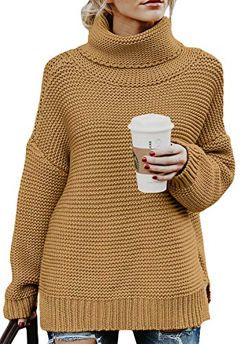 Womens Fall Cozy Side Slit Turtleneck Long Sleeve Rib Oversize Loose Fit Knit Pullover Chunky Cute Sweaters Tops Khaki M -