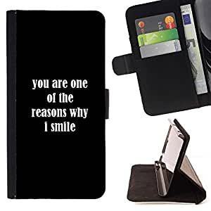 For HTC One M8 Reasons Smile You Love Positive Quote Romance Beautiful Print Wallet Leather Case Cover With Credit Card Slots And Stand Function