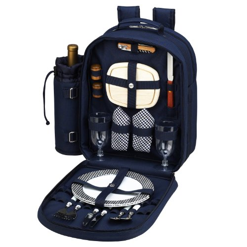 Picnic at Ascot - Deluxe Equipped 2 Person Picnic Backpack with Cooler & Insulated Wine Holder - Navy