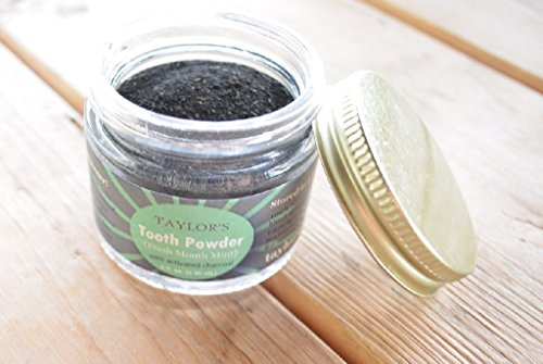 TAYLOR'S TOOTH Powder Natural with Xylitol & Activated Charcoal * MINT * Herbal Organic Vegan Paleo Plastic FREE Stored in GLASS - Made in USA! {2 ounce} by Taylors (Image #1)