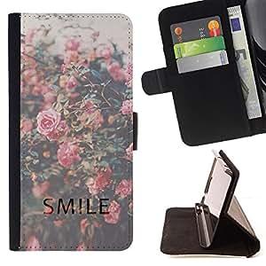 - smile motivational vignette roses - - Prima caja de la PU billetera de cuero con ranuras para tarjetas, efectivo desmontable correa para l Funny HouseFOR Samsung Galaxy A3