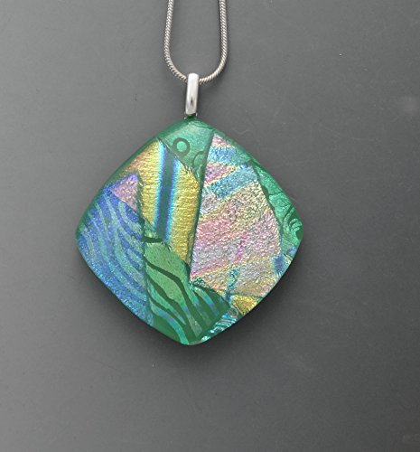 Square Green Dichroic Fused Glass Focal Pendant Square Fused Glass Pendant