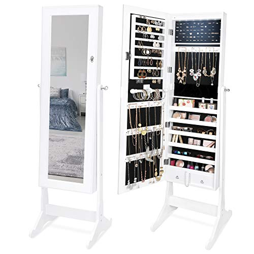 Best Choice Products 6-Tier Full Length Standing Mirrored Lockable Jewelry Storage Organizer Cabinet Armoire w/ 6 LED Interior Lights, 3 Angle Adjustments, Velvet Lining, White (Stand Mirror Case Jewelry)