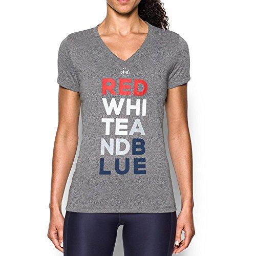 Under Armour Women's Freedom V-Neck T-Shirt, Charcoal/White, Medium Freedom Womens V-neck T-shirt