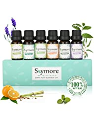 Skymore Aromatherapy Top 6 Essential Oil Gift Set, 100% Pure Therapeutic GradeEssential Oil Kit, 6/10ML (Tea Tree, Lavender, Peppermint, Eucalyptus, Lemongrass, Orange)