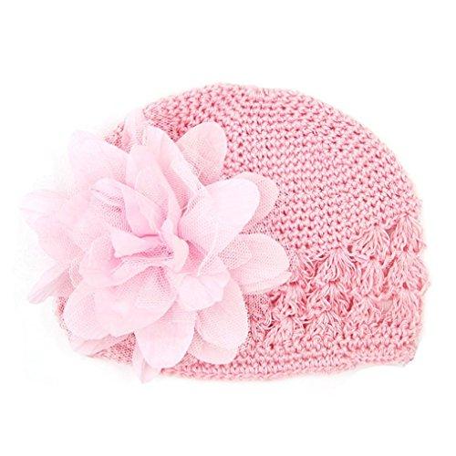 Toddler Infant Baby Girl Cute Big Chiffon Flower Knitted Hat Headwear Crochet Beanie Cap (Pink) -