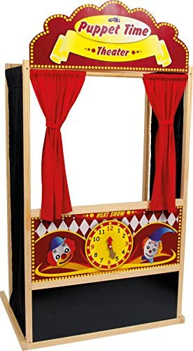 small foot 6099 Puppet Theater Joe made of wood beautifully decorated boasting bright colors ideal for birthdays from 3 years