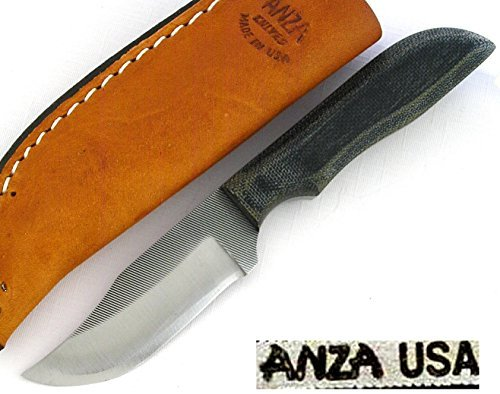 Anza USA Clip Point Hunter Green Canvas Micarta Handle Knife AZWK2M