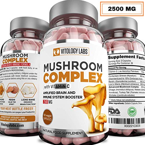 Vitology Labs| 2500MG Mushroom Supplement with Vitamin C - 7 Blend Lions Mane, Cordyceps, Reishi, Chaga, Maitake, Shiitake & Turkey Tail | Immune System & Nootropic Brain Booster for Focus & Memory