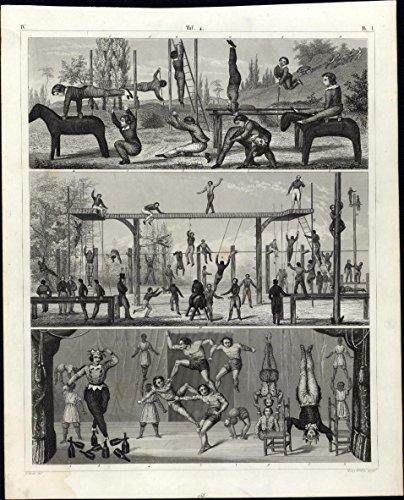 acrobats-performers-gymnastics-horse-vault-juggler-1850s-antique-engraved-print
