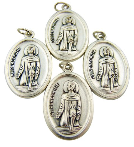 (Bulk Lot of 4 Patron of Cancer Saint Peregrine 1-inch Silver Tone Medal Pendant)