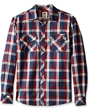 Men's Regular Fit Long Sleeve Herringbone Plaid Shirt