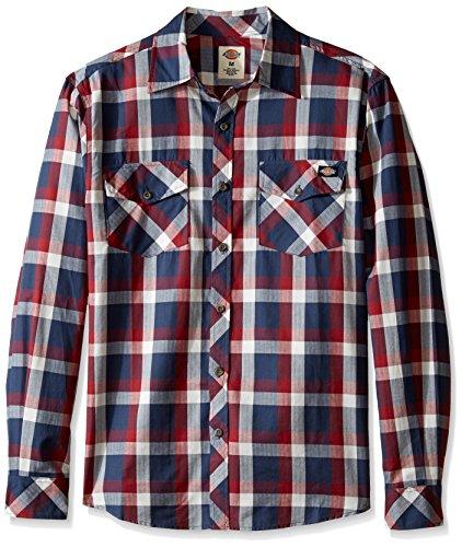 Dickies Men's Regular Fit Long Sleeve Herringbone Plaid Shirt, Navy/Wine, M ()