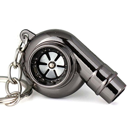 (Maycom Creative Spinning New Chrome Polished Gunmetal Black Turbo Turbocharger Keychain Key Chain Ring Keyring Keyfob,make Whistle Sound)