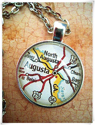 A little little love Custom Map Jewelry, Augusta Georgia Map Pendant,Vintage Map Pendant - Augusta National Masters Golf Club