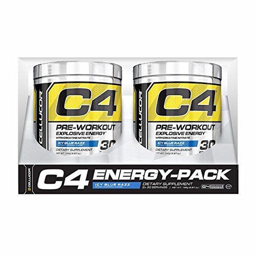 Cellucor C4 Pre Workout, Icy Blue Razz, Twin Pack (2x30 Servings)