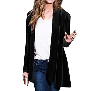 06eec9ec337 JOFOW Womens Long Velvet Suit Jackets Coats Solid Waterfall Swing Collar  Vintage Casual Loose Straight Cardigans