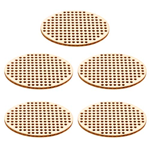 Amosfun 20PCS Oval Shape Wooden Hanging Circle Wooden Cross Stitch Plate Mini Embroidery Template for DIY Crafts Wedding Christmas Hanging Decor (Cross Stitch Hanging)