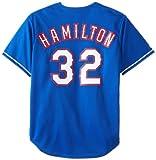 MLB Men's Texas Rangers Josh Hamilton Royal Alternate Short Sleeve 6 Button Synthetic Replica Baseball Jersey  (Royal, Large)