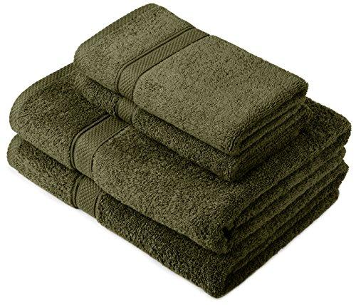 Pinzon by Amazon Lot deserviettes, 2 draps de bain et 2serviettes de bain en coton Vert mousse
