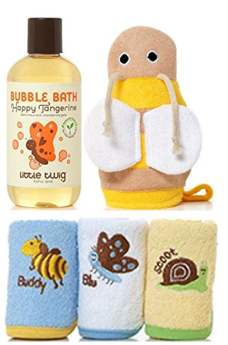 Little Twig Holiday Bundle: Happy Tangerine Bubble Bath 8.5fl oz, Bumble Bee Bath Mit, 3 Washcloths