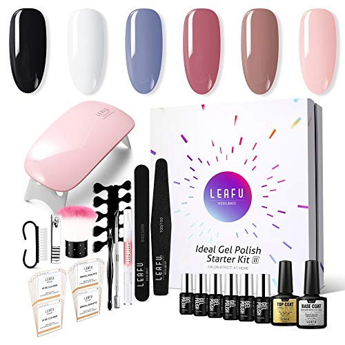 Gel Nail Polish Kit with UV light - Soak Off Gel Base Top Coat 6W Nail Lamp Portable Kit 6 Classic Colors by Modelones