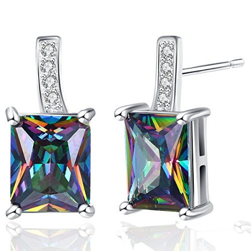 Pretty Stud Earrings for Women Hypoallergenic, Mysterious Rainbow Synthetic Quartz Solitaire Rectangle Earrings, Rhodium Plated