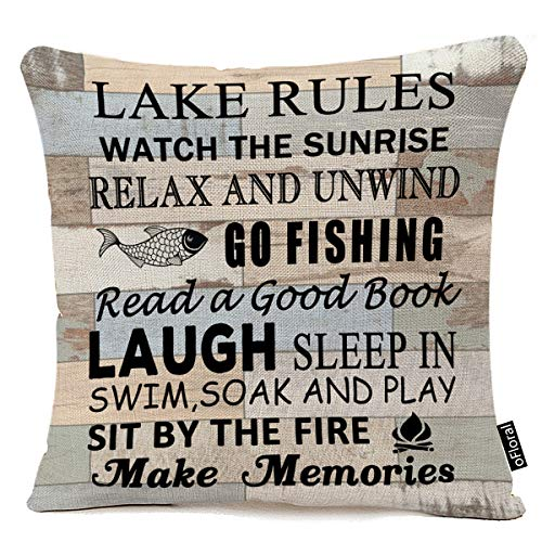"Retro Wood Grain Background Lake Rules Watch The Sunrise Relax Go Fishing Make Memories Cotton Linen Square Decorative Home Indoor Throw Pillow Case Cushion Cover 18""X18"