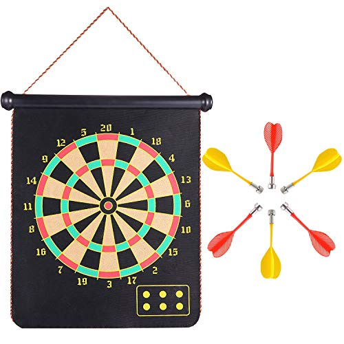 Magnetic Dart Board Set, Rabosky Double Sided Hanging Dartboard with 6PCS Dart Flights, Adult Office Home or Outdoor Games, Cool Toy Gift for Boys or Girls
