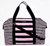 Victoria's Secret Weekender Duffle Travel Bag (Pink Black Stripes)
