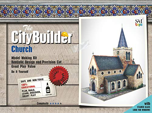 The CityBuilder Church Cardboard Model Making Kit - O Scale Model Railroad Building