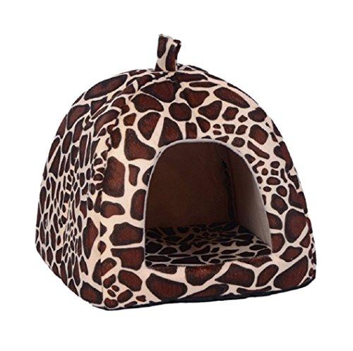 Fleece Nest Dog Bed - HOT! 2017 New Dog Bed Pet Dog House Foldable Soft Warm Sponge Leopard Giraffa Print Strawberry Cave Cute Dog Beds Kennel Nest Fleece Cat Tent (M)
