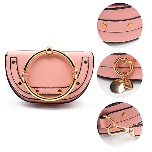 Handbags Brown Style Bags lune Girls Punk Wristlet lune Lune Circular Bracelet Elegant Yoome Satchel Pink Crossbody Upgraded Handle Rivets Version Round Ring Cute For UqntwZ0W