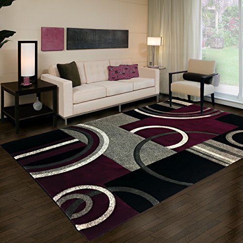"- Golden Rugs Platinium Collection 500,000 Thread count Soft Black-Purple Hand Carved – Modern Contemporary (5'2"" x 7'5"") Floor Rug with Premium Fluffy Texture for Indoor Living / Dining room"
