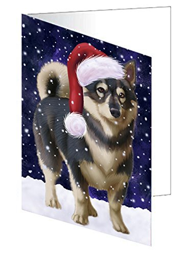 Let It Snow Christmas Happy Holidays Swedish Vallhund Dog Greeting Card GCD905 ()