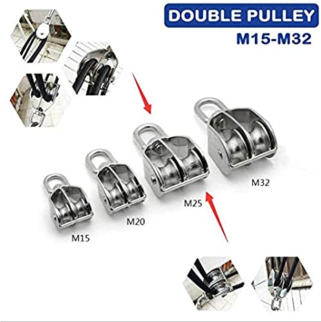 SENRISE M15 Double Swivel Pulley Roller Pulley Block 1Pcs Stainless Steel Pulley Rigging for Lifting Rope Lifter Ship Yacht